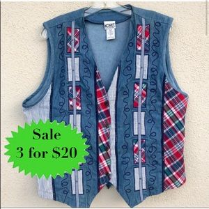VINTAGE denim vest hippie embroidery TOP Chambray